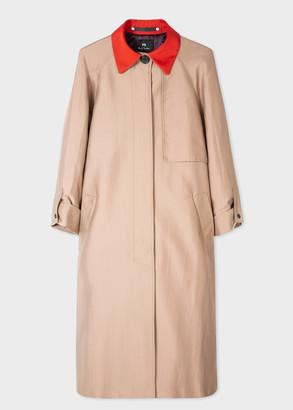 Paul Smith Women's Long Camel Mac With Contrast Collar
