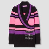 Say What Girls' Striped Belted Sweater - Black/Pink