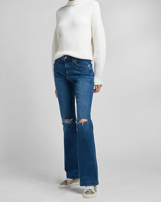 Express Mid Rise 4-Way Hyper Stretch Ripped Bootcut Jeans