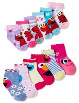 Sesame Street Toddler Girls Socks, 12-Pack