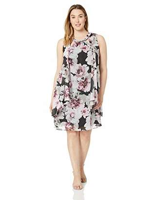 SL Fashions Women's Plus Size Sleeveless Cutout Dress with Pearl Neckline
