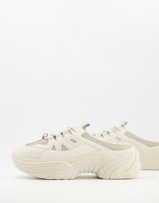 ASOS DESIGN Dava chunky mule trainers in taupe