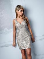 Terani Couture C2011 Bedazzled V-Neck Sheath Dress