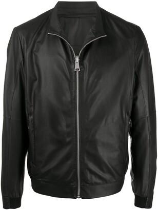 Drome Zipped Leather Bomber Jacket