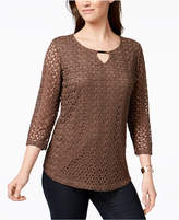 JM Collection Crochet-Lace Keyhole Top, Created for Macy's