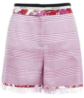 Emilio Pucci Printed Satin Twill-trimmed Houndstooth Woven Shorts