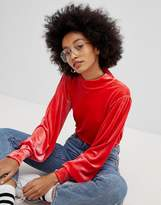 Pieces High Neck Velvet Top With Cuff Detail