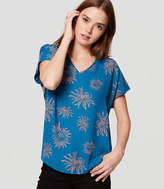 LOFT Petite Iced Floral Mixed Media Top
