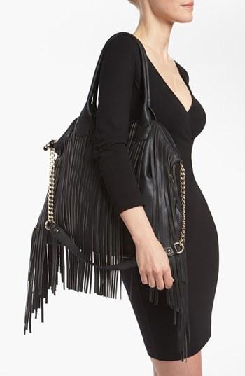 Emperia Fringe Shoulder Bag, Large Black
