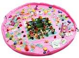 Homecube Large 59 Inches Diameter Baby Kids Play Floor Mat Toy Storage Bag Organizer Pink