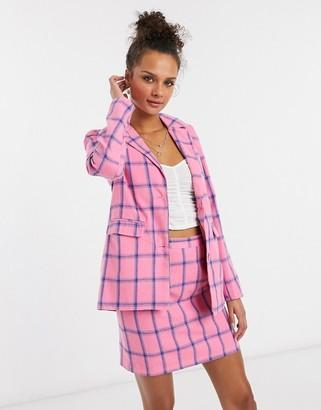 Heartbreak slouchy boyfriend blazer in pink and blue check