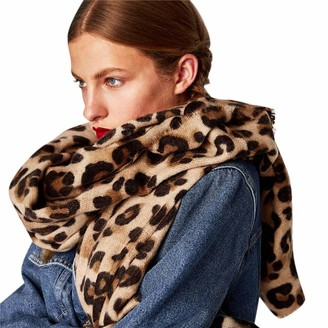 Miss Fortan Women Scarf For Winter Ladies Leopard Print Scarves Thermal Soft Warm Wraps Shawl Long Stole Cape Blanket