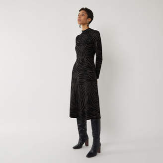 Warehouse ZEBRA JACQUARD MIDI DRESS