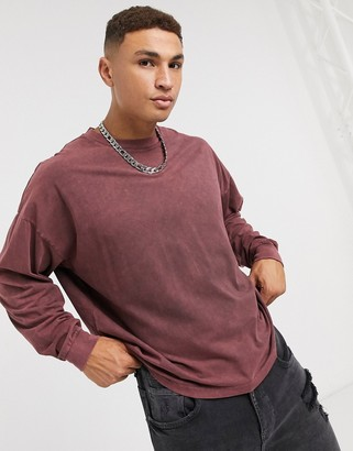 ASOS DESIGN oversized long sleeve t-shirt in brown acid wash
