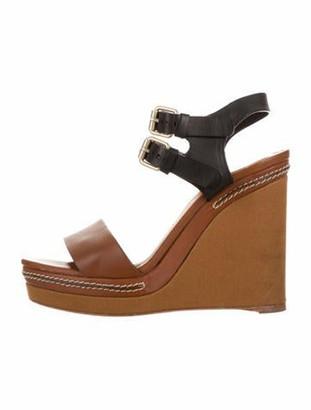 Chloé Platform Wedge Sandals Brown