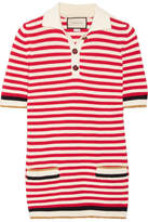 Gucci Striped Stretch Cotton-blend Top - Red