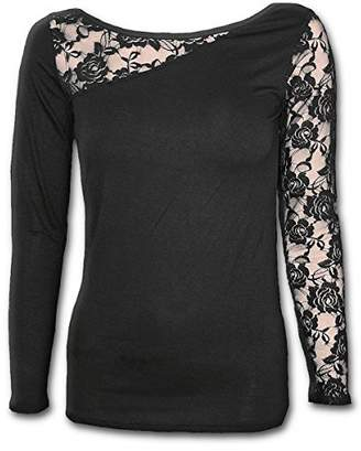Spiral Direct Women's Gothic Elegance-Lace One Shoulder Top Long Sleeve,16 (Size:L)