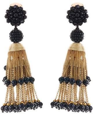 Oscar de la Renta Pave Swarovski Crystal Accented Beaded Tiered Chain Tassel Drop Clip-On Earrings
