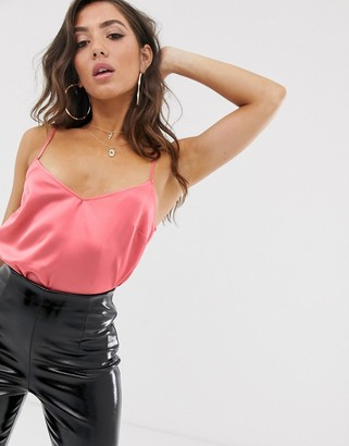 Lipsy satin cami top in coral