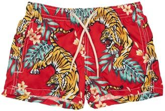 MC2 Saint Barth Tiger Print Recycled Fiber Swim Shorts