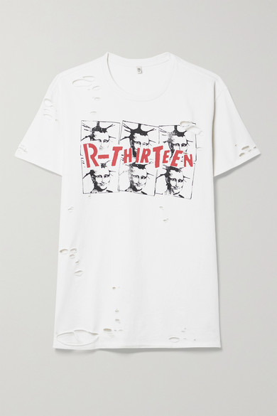 R 13 Mona Lisa Boy Distressed Printed Cotton-jersey T-shirt - White
