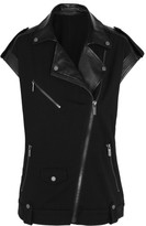 Karl Lagerfeld Joy faux leather and stretch-jersey biker vest