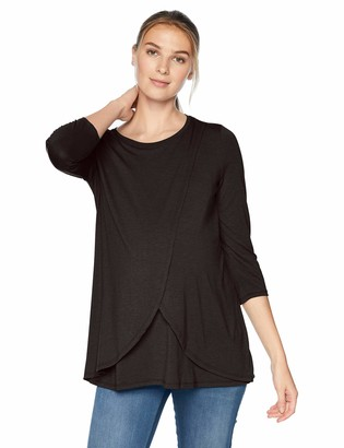 Motherhood Maternity Women's Maternity 3/4 Sleeve Scoop Neck Layered Tulip Hem Nursing Tee Shirt