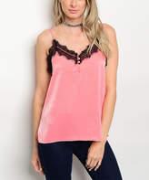 Coral & Black Lace Camisole