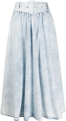 MSGM stonewashed belted A-line midi skirt