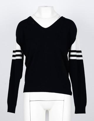 Lamberto Losani White/Black Cashmere Women's V-Neck Sweater