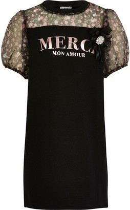 River Island Girls Black 'Merci' organza sleeve dress