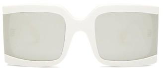 Celine Reflective-lens Square Acetate Sunglasses - Womens - Ivory