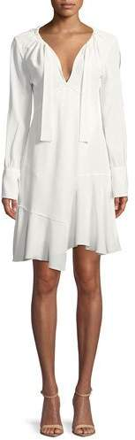 Derek Lam 10 Crosby Long-Sleeve Tie-Neck Asymmetric A-Line Dress