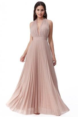 Goddiva Deep V Neck Lurex Maxi Dress
