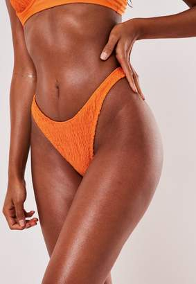 Missguided Orange Crinkle High Leg Boomerang Bikini Bottoms