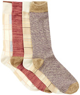 Lucky Brand Stripes & Plaid Crew Socks - Pack of 4