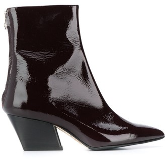 AEYDĒ Pointed Patent Ankle Boots