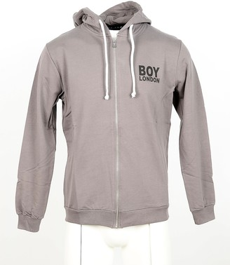 Boy London Taupe Cotton Zip Front Men's Hoodie