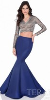 Terani Couture Two Piece Embellished Metallic Lace Mermaid Gown