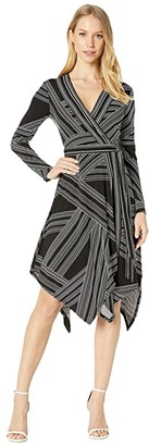 BCBGMAXAZRIA Wrap Dress (Optic White/Straight Stripe) Women's Dress