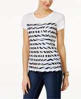 MICHAEL Michael Kors Cotton Striped Zebra-Print T-Shirt