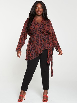 V By Very Curve Red Animal Print Wrap Top - Multi
