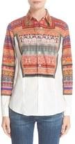 Etro Women's Ribbon Print Stretch Cotton Shirt