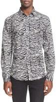 Just Cavalli Men's Trim Fit Zebra Print Sport Shirt