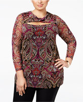 INC International Concepts Plus Size Printed Cutout Top, Only at Macy's