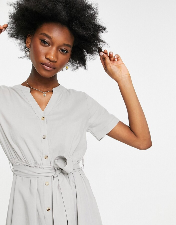 Thumbnail for your product : Qed London tie waist midi dress in sage green