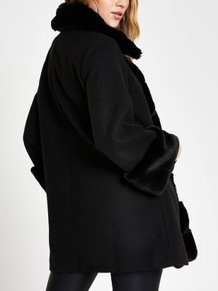 River Island Faux Fur Front Swing Coat - Black