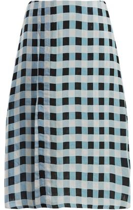 Wales Bonner Checked Midi Skirt - Blue White