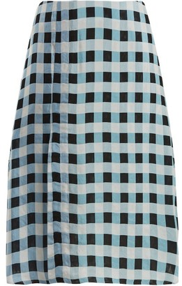 Wales Bonner Checked Midi Skirt - Womens - Blue White