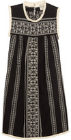 Sea Embroidered Cotton And Linen-blend Gauze Mini Dress - Black